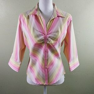 Pastel Striped 3/4 Sleeve Fitted Blouse - L NWOT